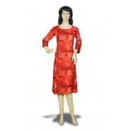 Women's Red Patch Sleeve Rayon Kurti
