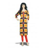 Women's Yellow Feminine  Sleeve Rayon Kurti
