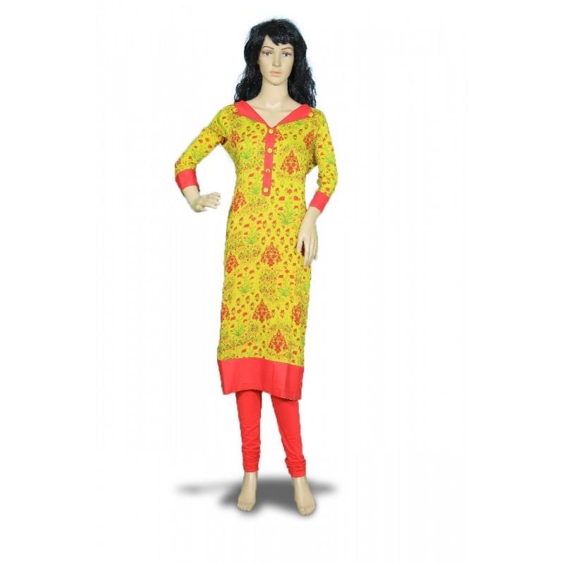 Women's Yellow Floral  Sleeve Rayon Kurti