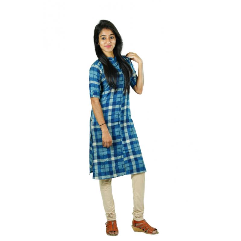 Hurryguru Women Maniac Checkered  Rayon Kurti
