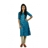 Hurryguru Women Blue Printed Rayon Kurti