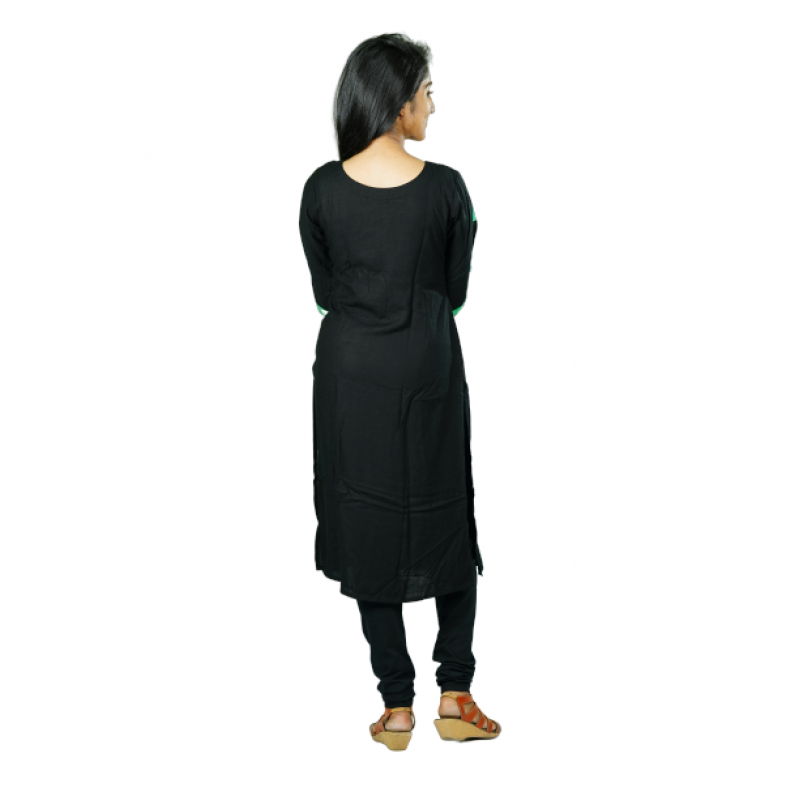 Hurryguru Women Black Rib  Rayon Kurti