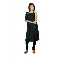 Hurryguru Women Black Rib  Rayon Kurti