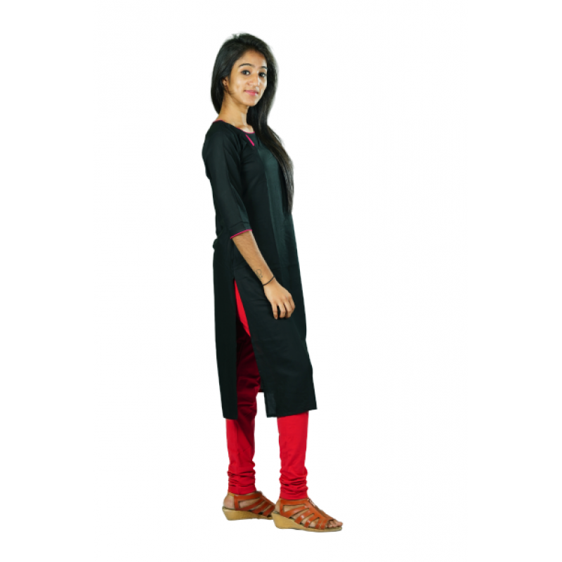 Hurryguru Women Black Dot  Rayon Kurti