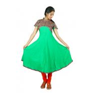 Hurryguru Women Green Flared Rayon Kurti