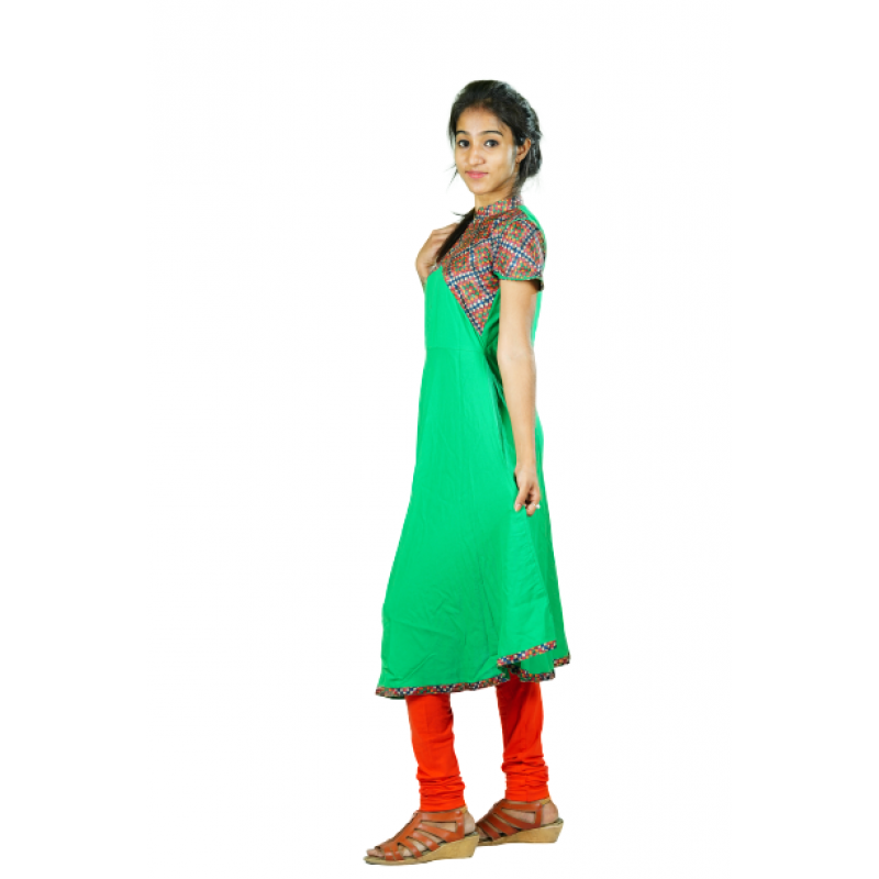 Hurryguru Women Green Flared Rayon Kurti