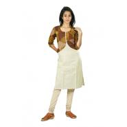 Hurryguru Women White Jacket Rayon Kurti