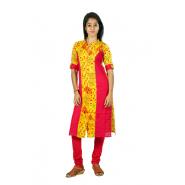 Hurryguru Women Yellow Floral Rayon Kurti
