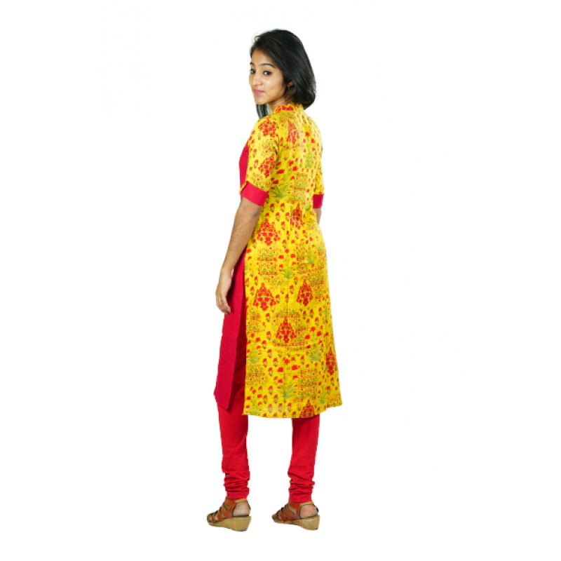 Hurryguru Women Yellow Floral Rayon Kurti