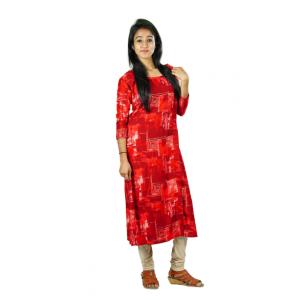 Hurryguru Women Red Flake  Rayon Kurti