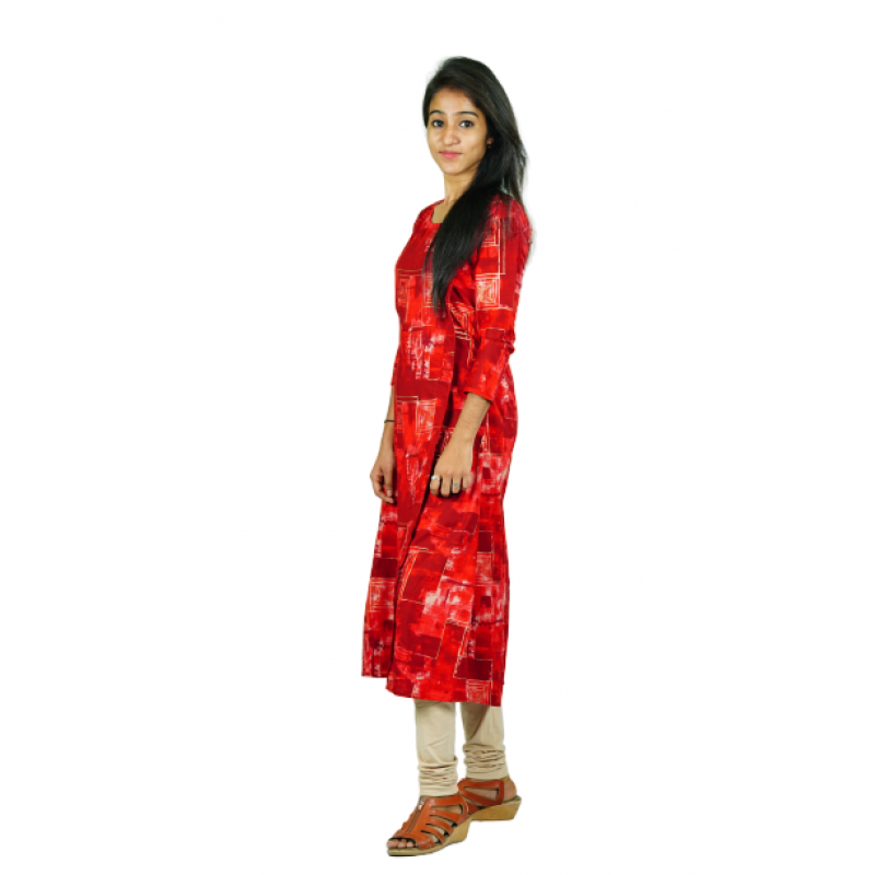 Hurryguru Women Red Flake  Rayon Kurti