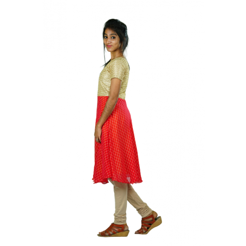 Hurryguru Cross Line Sleeve Red Rayon Kurti left side image
