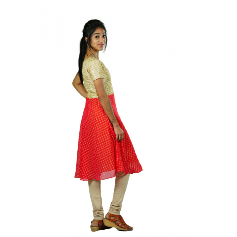 Hurryguru Cross Line Sleeve Red Rayon Kurti right side image