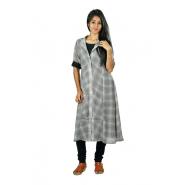 Hurryguru Women Grey Rayon Kurti