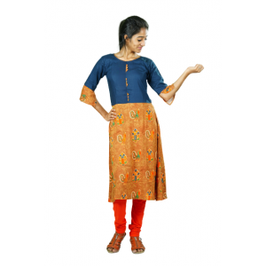 Hurryguru Women Multi Peacock Rayon Kurti