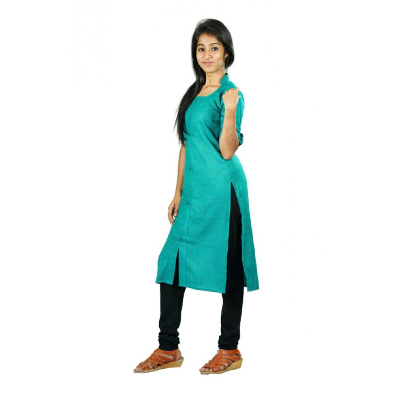 Hurryguru Women Pista Green Rayon Kurti