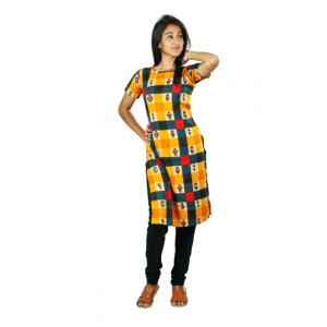 Hurryguru Women Yellow Checkered Rayon Kurti
