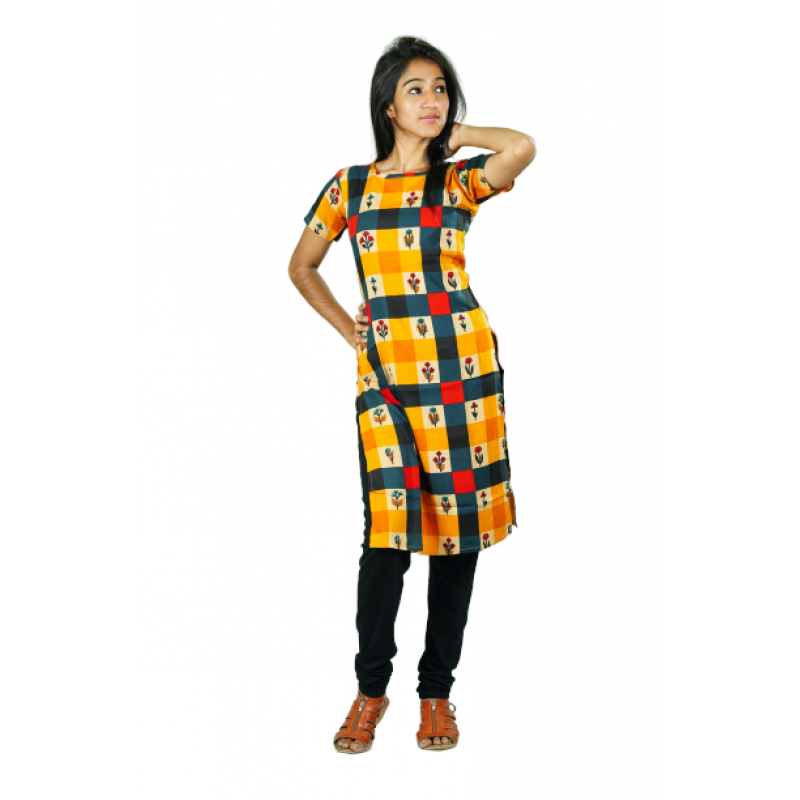 Hurryguru Women Yellow Checkered Rayon Kurti